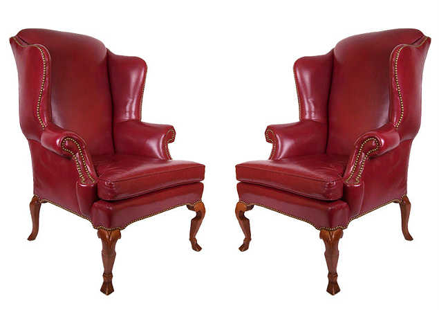 Red Leather Wingback Chairs
